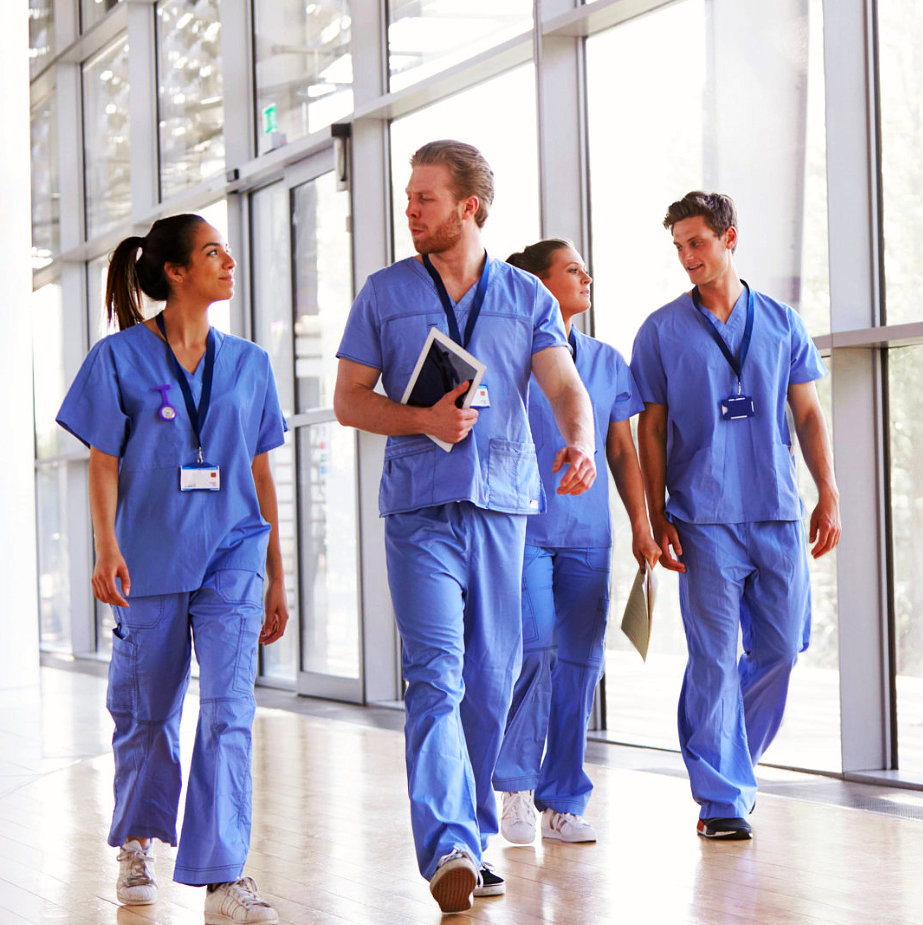 group of medical workers walking